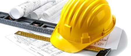This is just an image of a hard hat and various construction related items